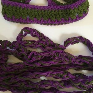 Headband Love Knot Scarf Set  Cotton Purple Green